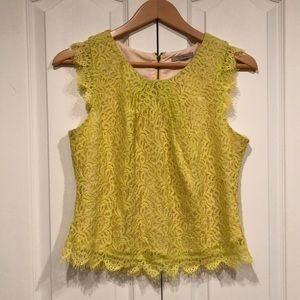 Darling bright yellow lace cropped top